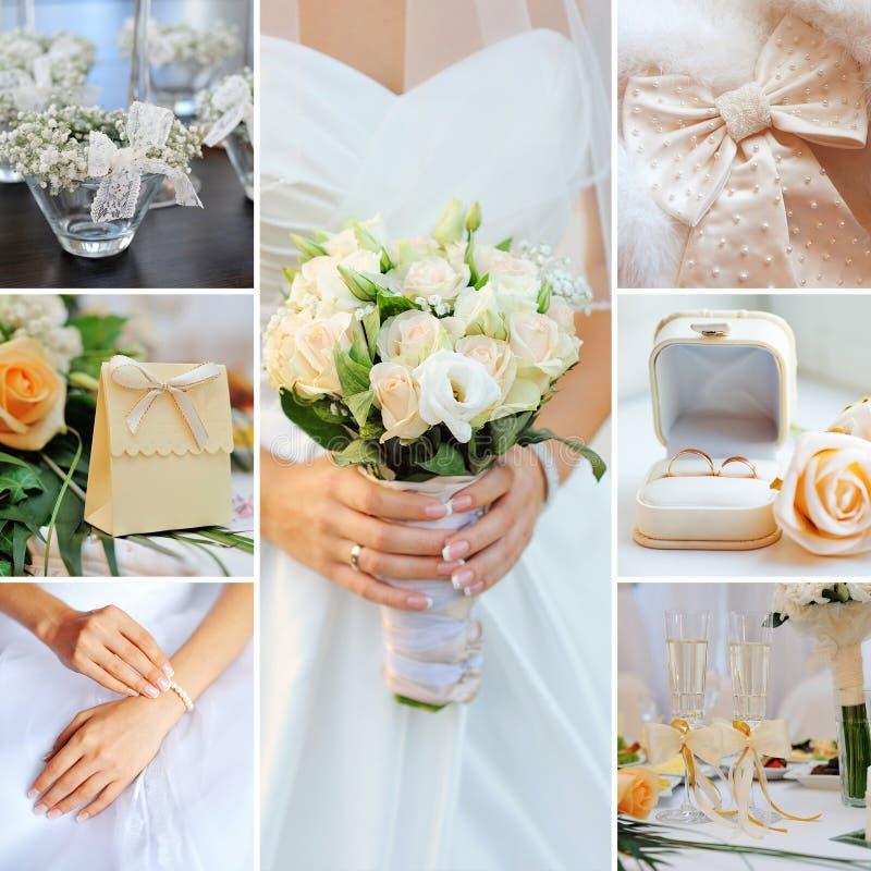 Collage di nozze fotografie stock