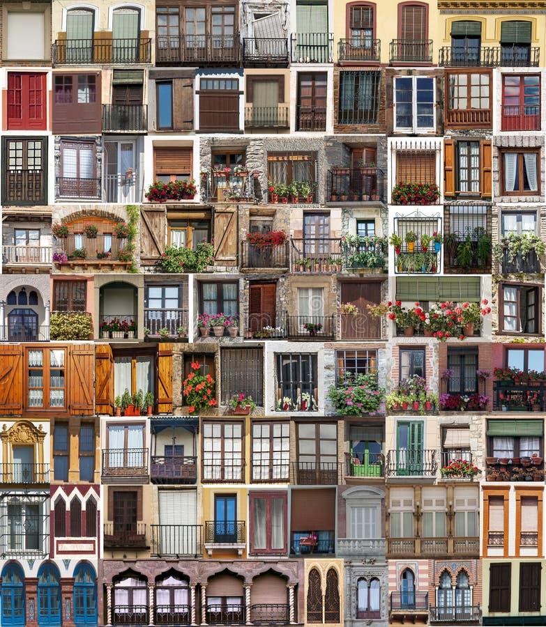 Collage di parecchie finestre fotografia stock libera da diritti