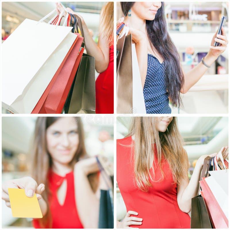 Collage di parecchie foto per il concetto di compera con le borse fotografia stock libera da diritti
