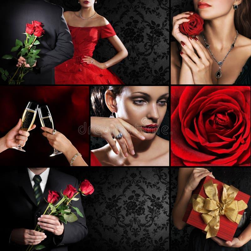 Collage di parecchie foto per il tema di festa fotografie stock libere da diritti