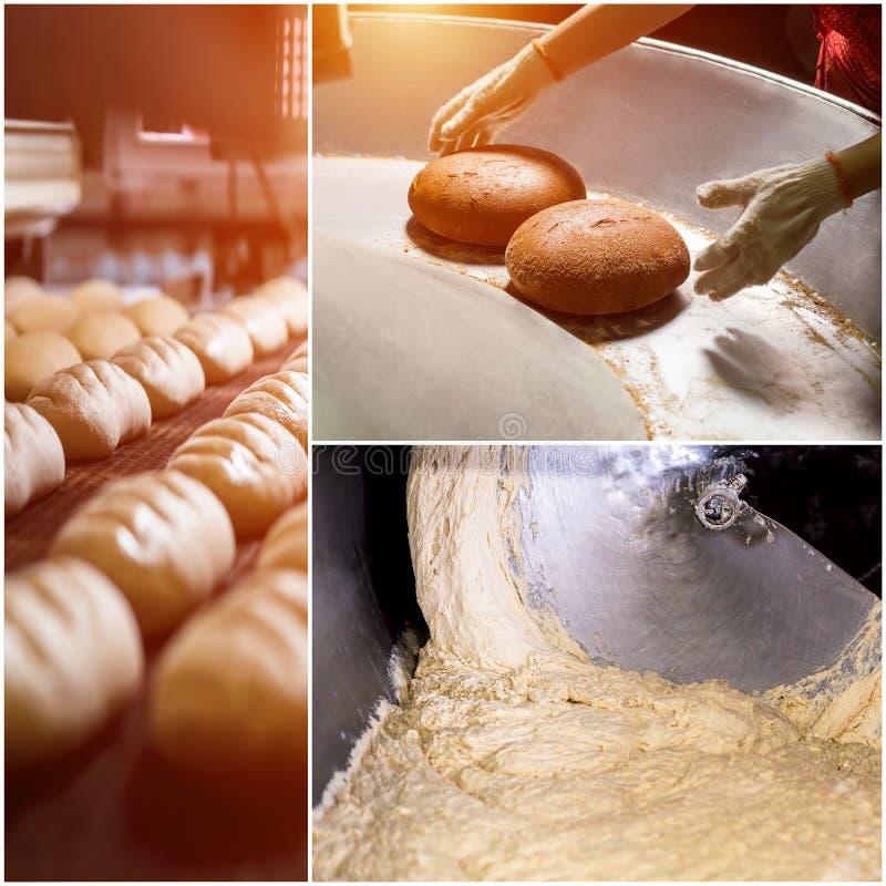 Collage di pasta cruda e di pane al forno fotografia stock