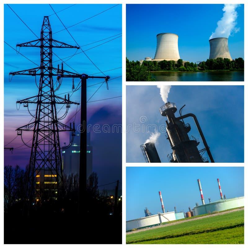 Collage di potere e concetti e prodotti di energia immagini stock