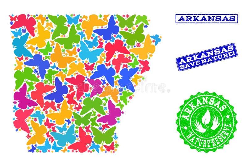 Collage di risparmio della natura della mappa dello stato dell'Arkansas con le farfalle e le guarnizioni graffiate illustrazione di stock