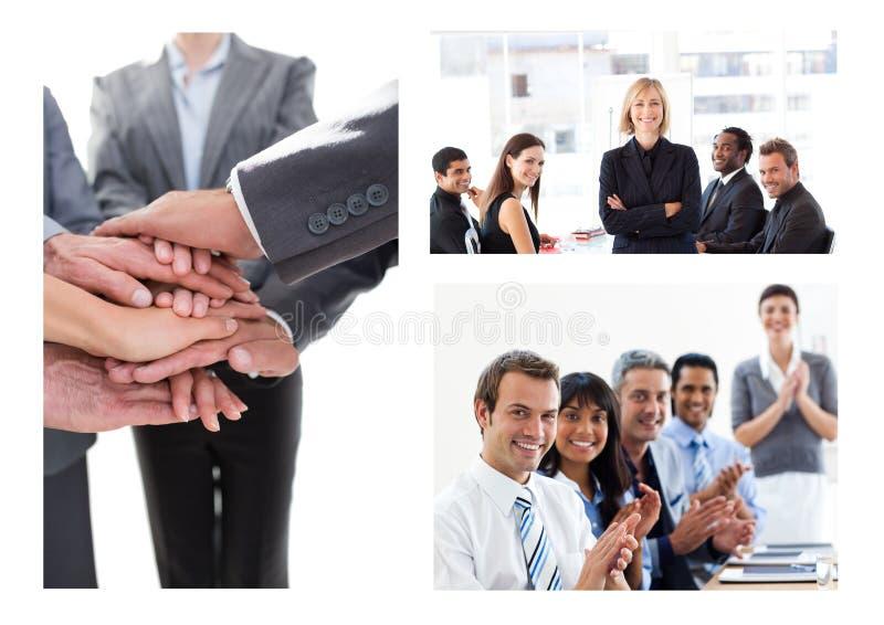 Collage di riunione d'affari di lavoro di squadra immagine stock