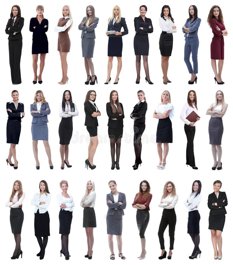 Collage di riuscita donna di affari moderna Isolato su bianco immagine stock