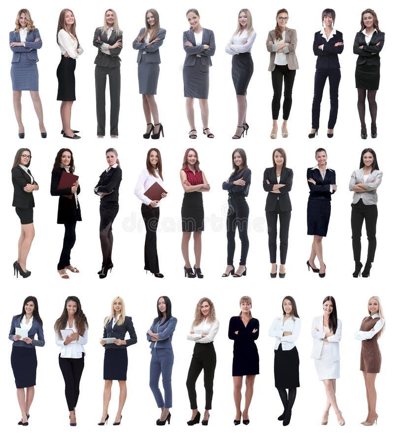 Collage di riuscita donna di affari moderna Isolato su bianco immagini stock libere da diritti
