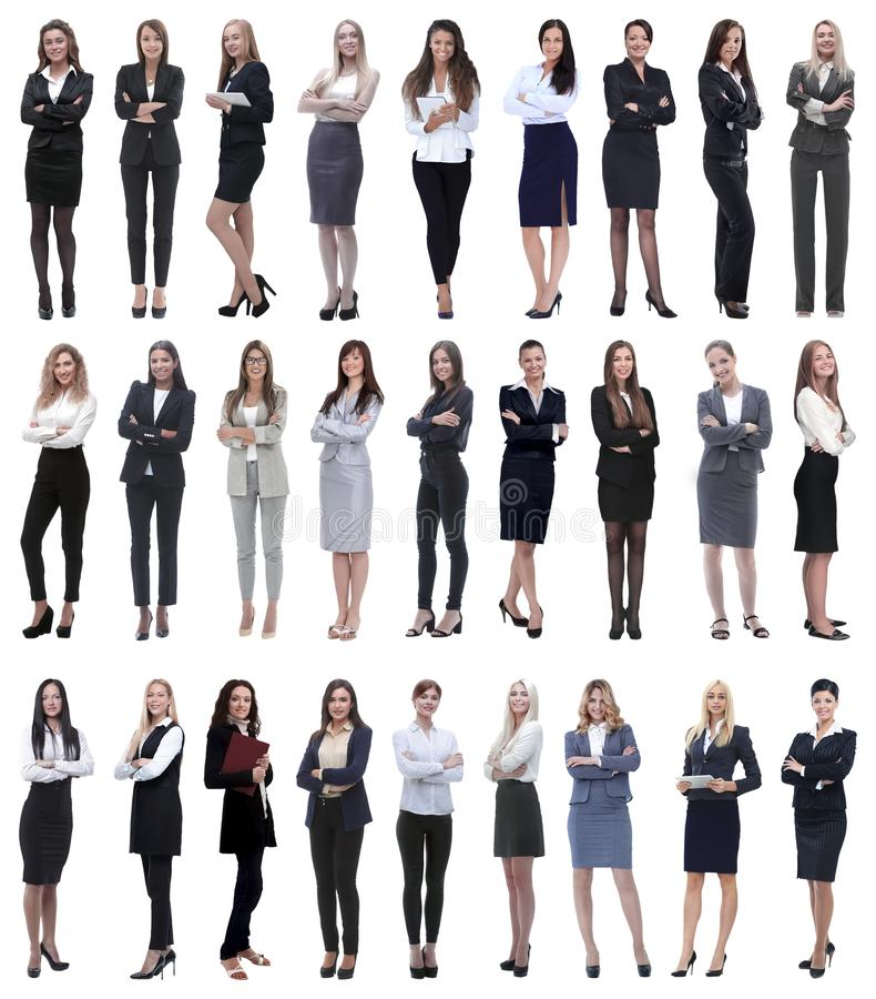 Collage di riuscita donna di affari moderna Isolato su bianco immagini stock