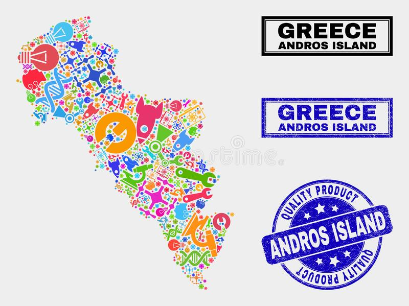 Collage di Service Andros Island of Greece Map and Quality Product Stamp royalty illustrazione gratis