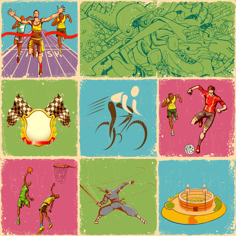Collage di sport illustrazione di stock