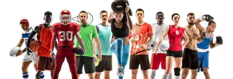 Collage di sport circa gli atleti femminili o i giocatori Il tennis, funzionamento, volano, pallavolo immagini stock libere da diritti