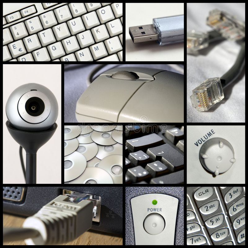 Collage di tecnologia fotografia stock