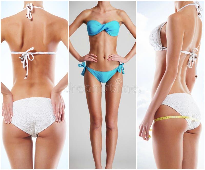 Collage di un corpo femminile di misura in biancheria intima Salute, sport, forma fisica, nutrizione, perdita di peso, dieta, rim immagini stock