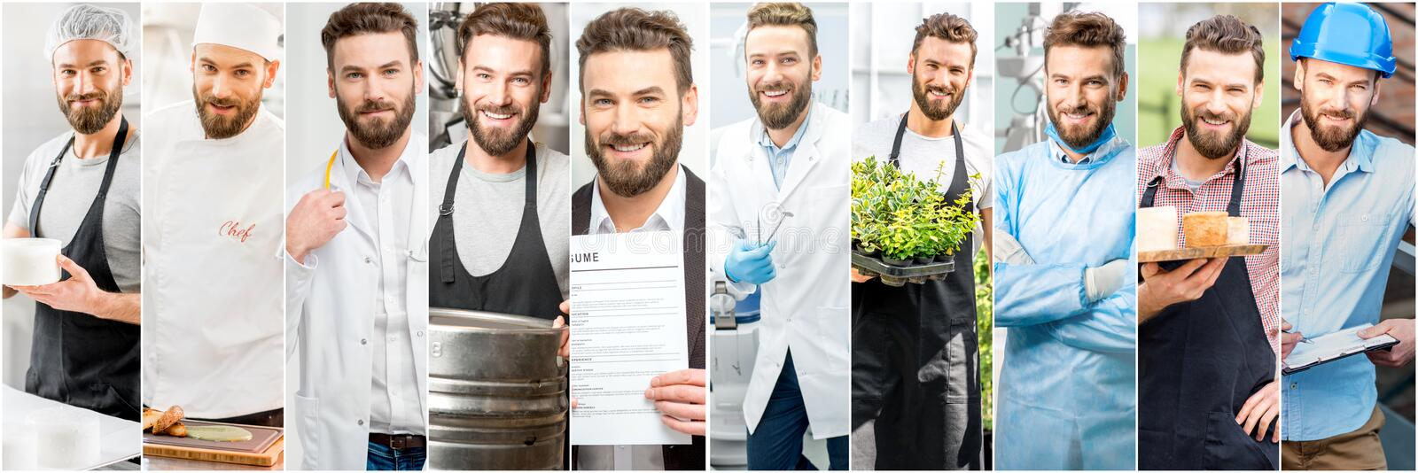 Collage di un uomo con differenti professioni fotografia stock