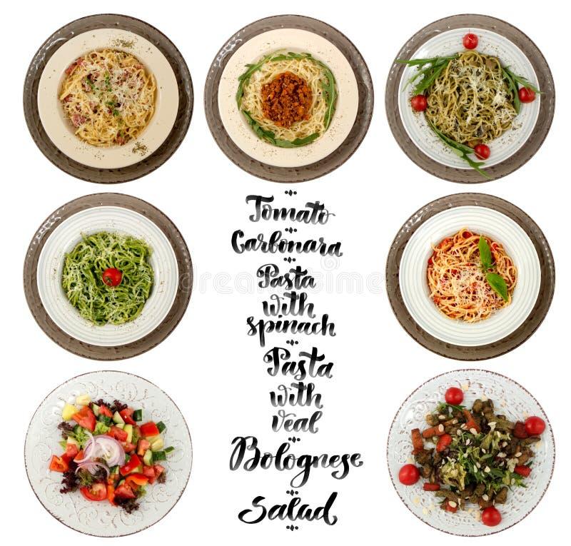 Collage di vari piatti di pasta illustrazione vettoriale