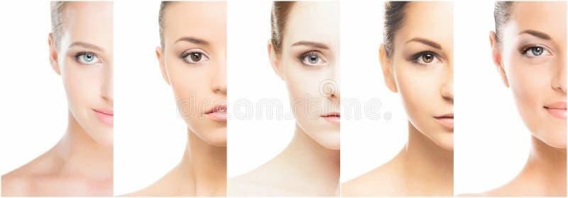 Collage di vari ritratti della femmina della stazione termale fotografia stock libera da diritti