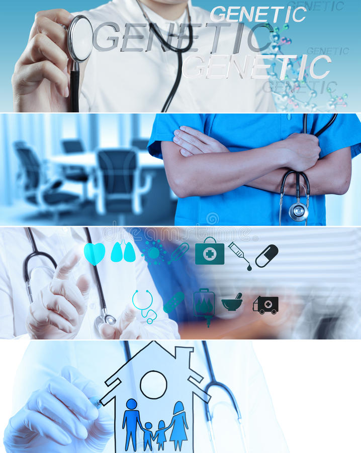 Collage di vario medico moderno fotografia stock libera da diritti