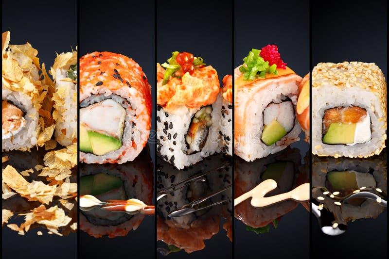 Collage di vario menu del ristorante giapponese dei sushi su fondo nero immagini stock