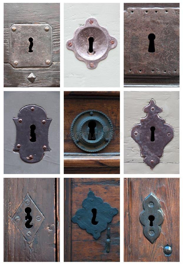 Collage dei buchi della serratura immagini stock libere da diritti