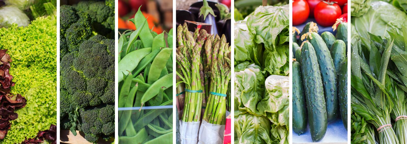 Collage di verdure verde fresco fotografia stock