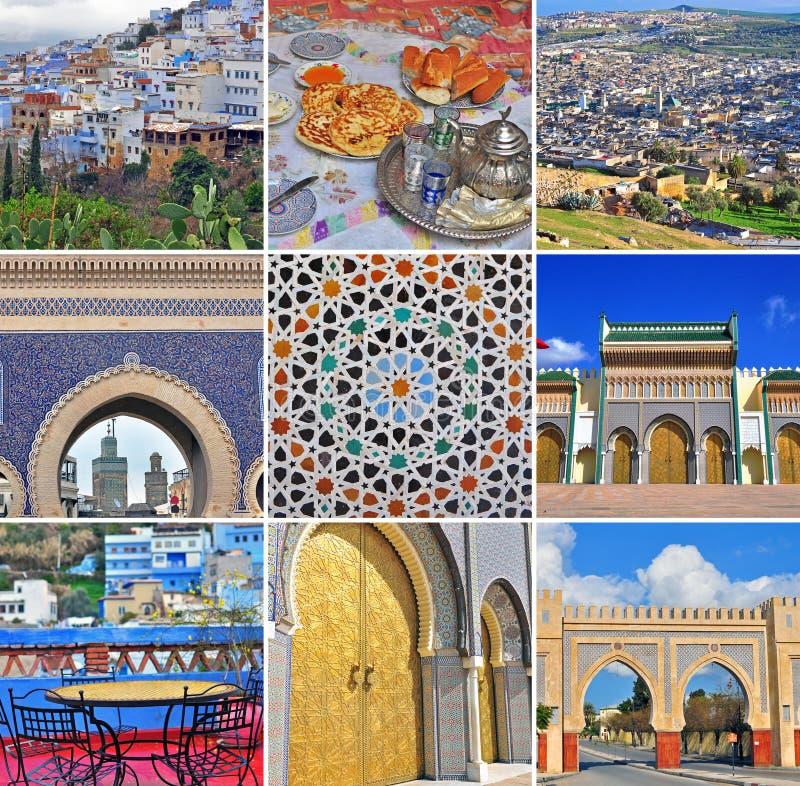 Collage di viaggio del Marocco Insieme delle immagini da Fes e da Chefchaouen immagine stock
