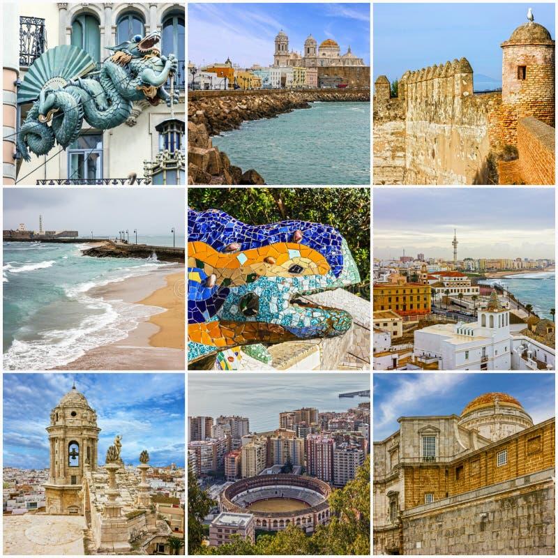 Collage di viaggio della Spagna - punti di riferimento spagnoli: Barcellona, Cadice, Malaga immagine stock