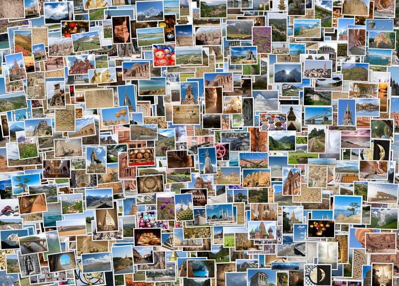Collage di viaggio intorno al mondo fotografia stock