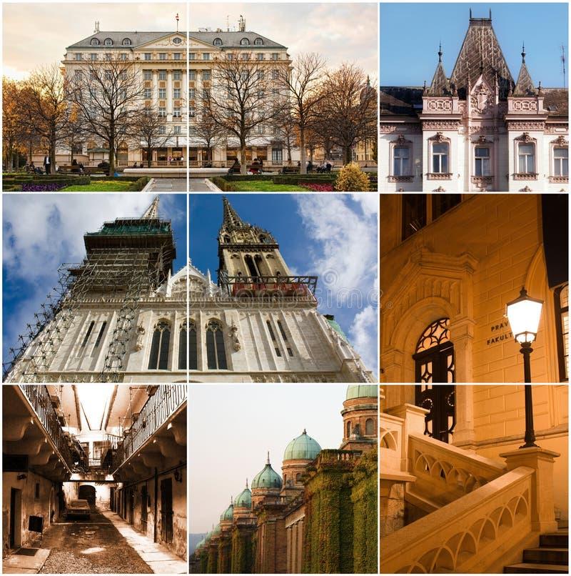 Collage di Zagabria - città europea fotografia stock libera da diritti