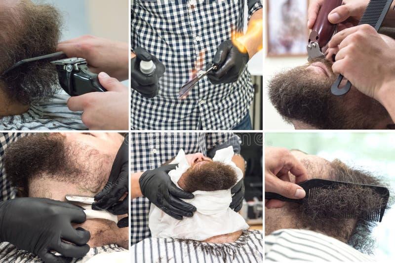 Collage die de in orde makende baard met clippers in een kapperswinkel tonen Sluit omhoog stock foto's