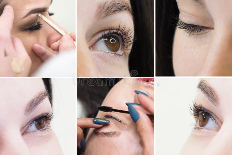 Collage die de wimper tonen die in schoonheidssalon kleuren Het concept van de schoonheid royalty-vrije stock foto