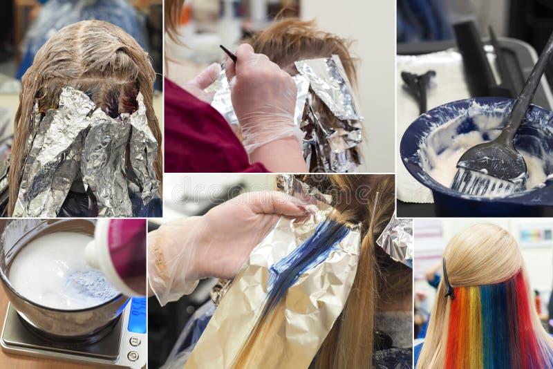 Collage die de wimper tonen die in schoonheidssalon kleuren Het concept van de schoonheid royalty-vrije stock foto's