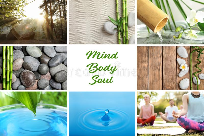 Collage of different beautiful pictures and text Mind, Body, Soul. Zen, balance, harmony stock photos