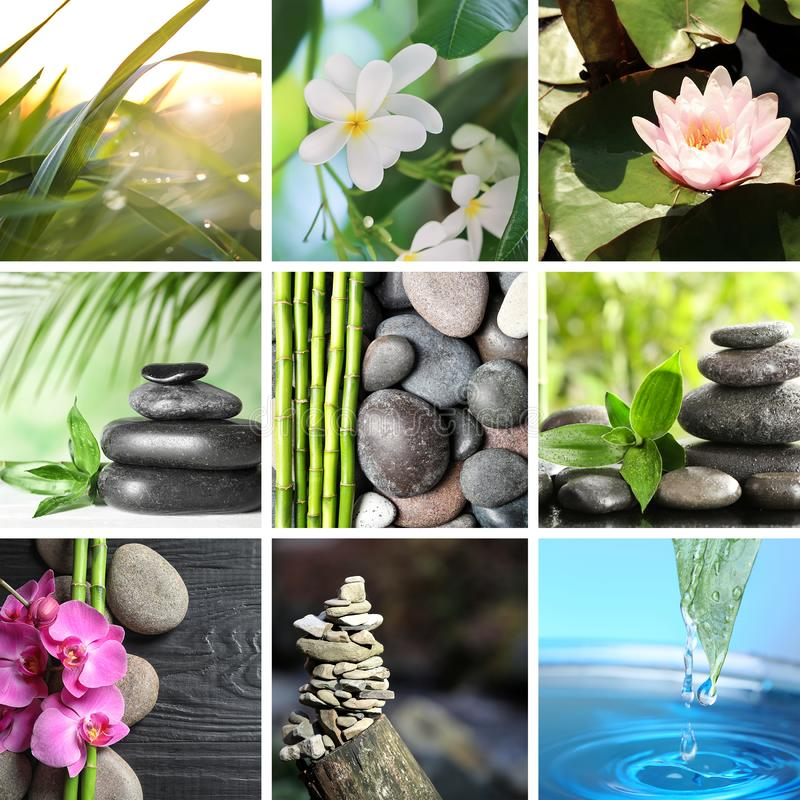 Collage of different beautiful pictures. Zen, balance, harmony royalty free stock photos
