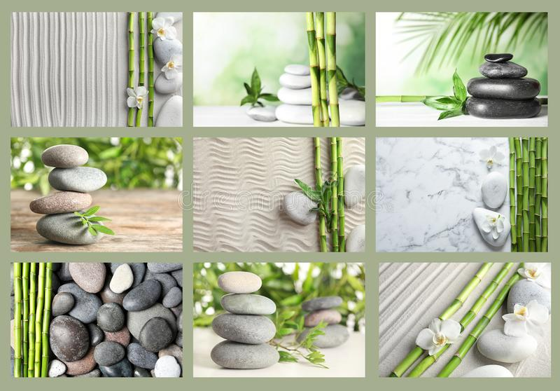 Collage of different beautiful pictures. Zen, balance, harmony stock photo