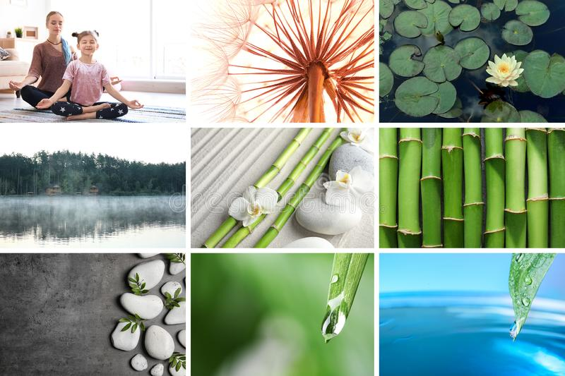 Collage of different beautiful pictures. Zen, balance, harmony royalty free stock photo