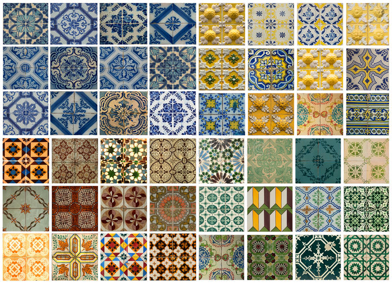 Collage of different colored pattern tiles in Portugal. Collage of different colored pattern tiles in Lisbon, Portugal stock photo