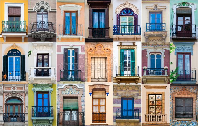 Collage of different colorful spanish windows stock image
