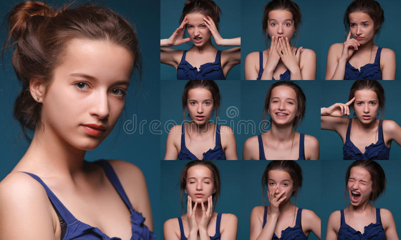 Collage of different expressions. Collage of woman different facial expressions royalty free stock photos