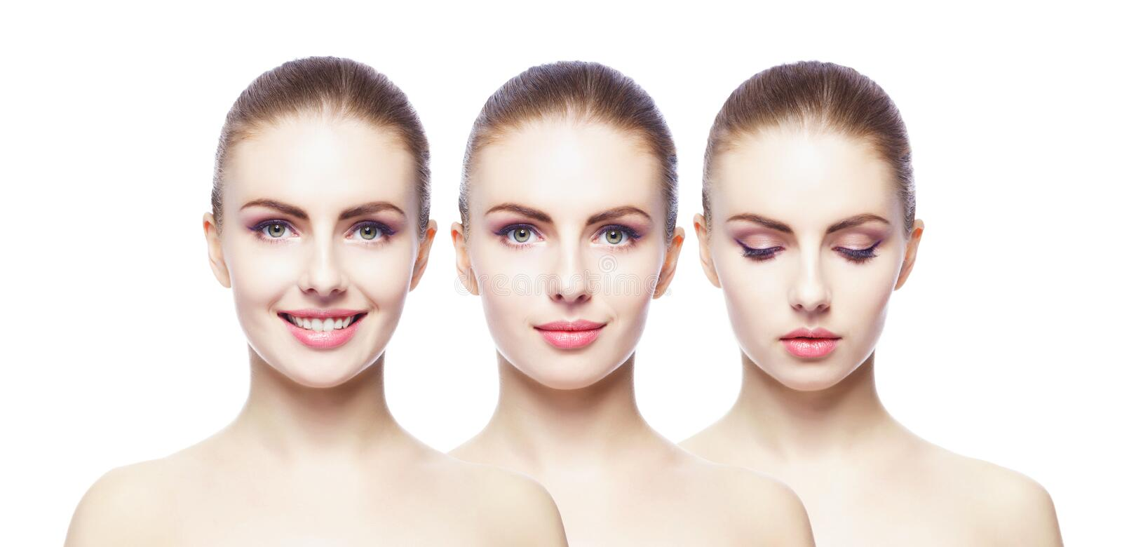 Collage of different female portraits. Spa, face lifting, plastic surgery concept. Collage of different woman portraits. Spa, face lifting, plastic surgery stock images