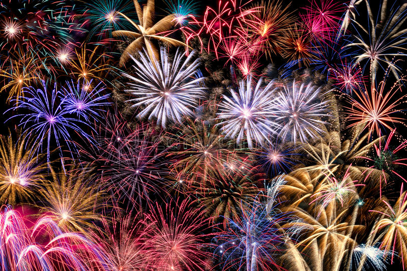 Collage of different Fireworks royalty free stock image