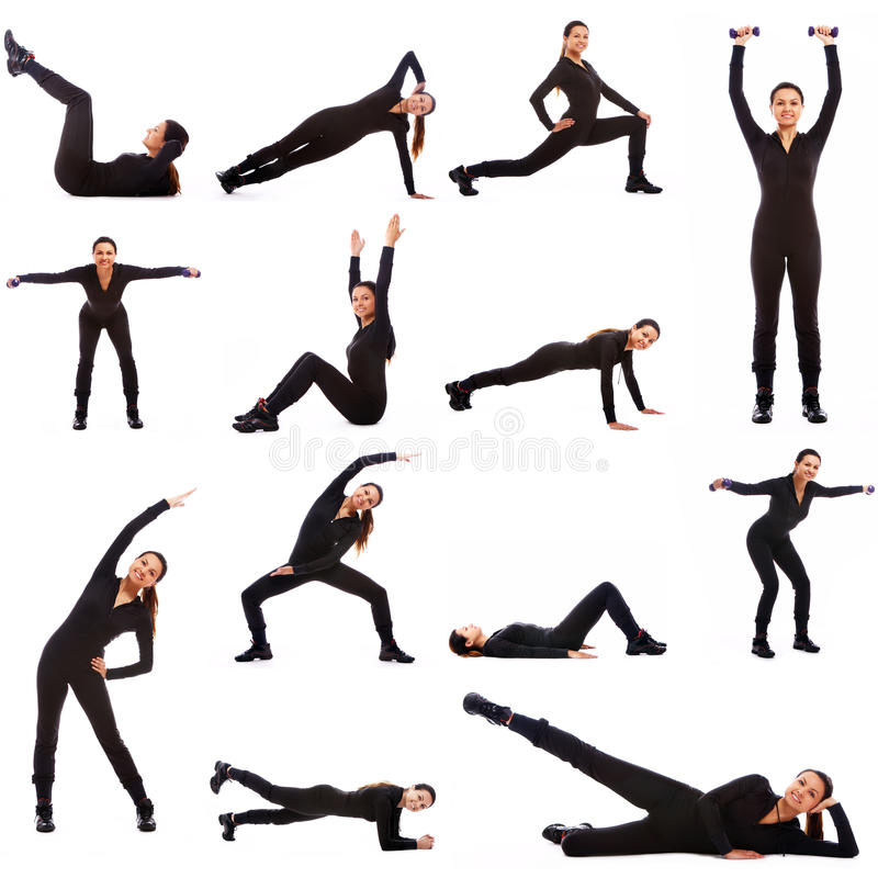 Collage of different fitness exercises stock photography