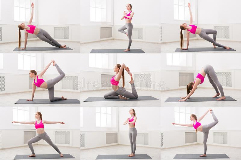 Collage of young woman practicing yoga royalty free stock photo
