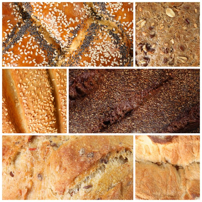 Collage with fresh bread as background, closeup royalty free stock photos