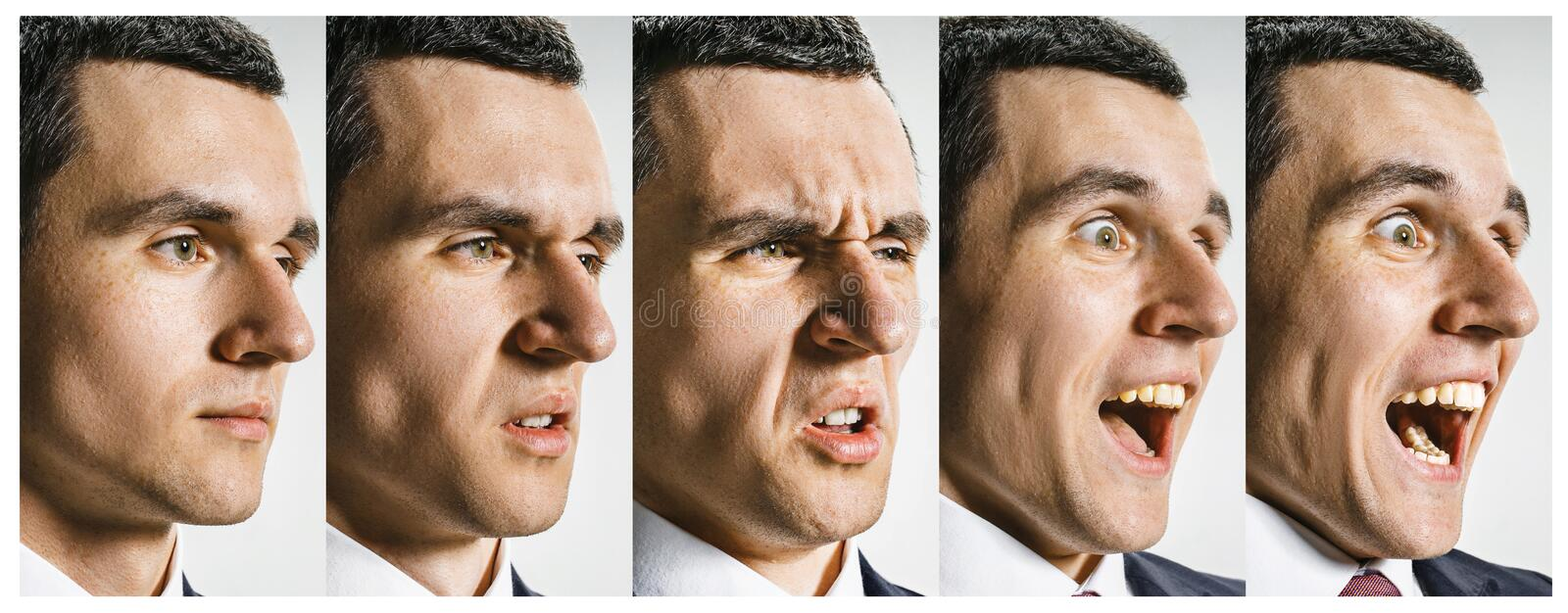 The collage of different human facial expressions, emotions and feelings. stock images