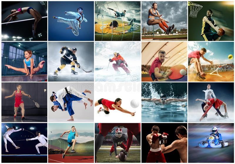 Collage about different kind of sports. Sport collage about table tennis, badminton, gymnastics, boxing, volleyball, soccer and american football, taekwondo stock photography