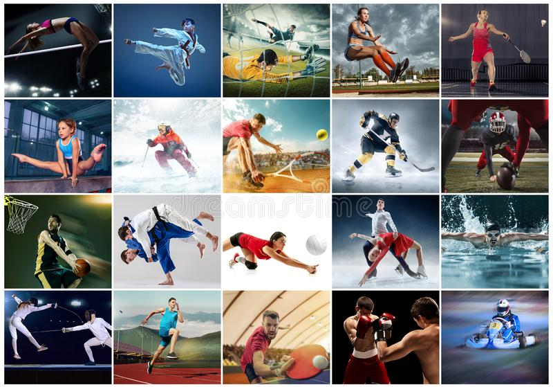 Collage about different kind of sports. Sport collage about table tennis, badminton, gymnastics, boxing, volleyball, soccer and american football, taekwondo royalty free stock photos