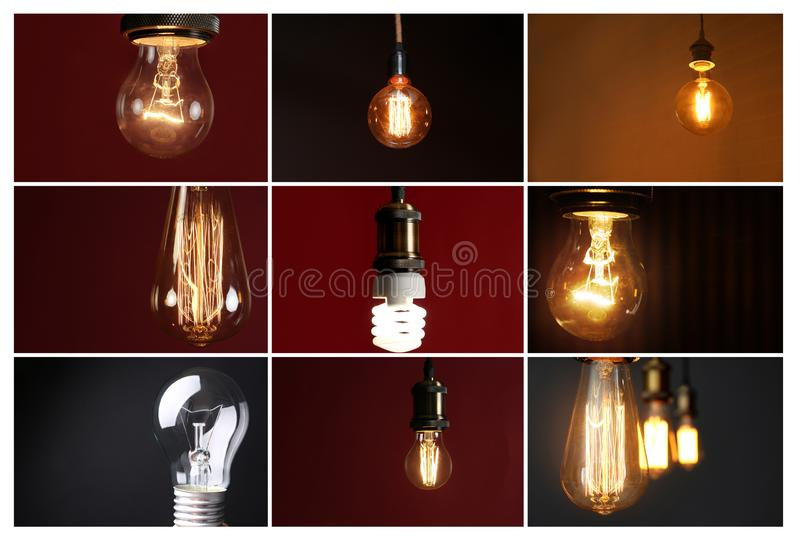 Collage of different lamp bulbs on dark royalty free stock photography