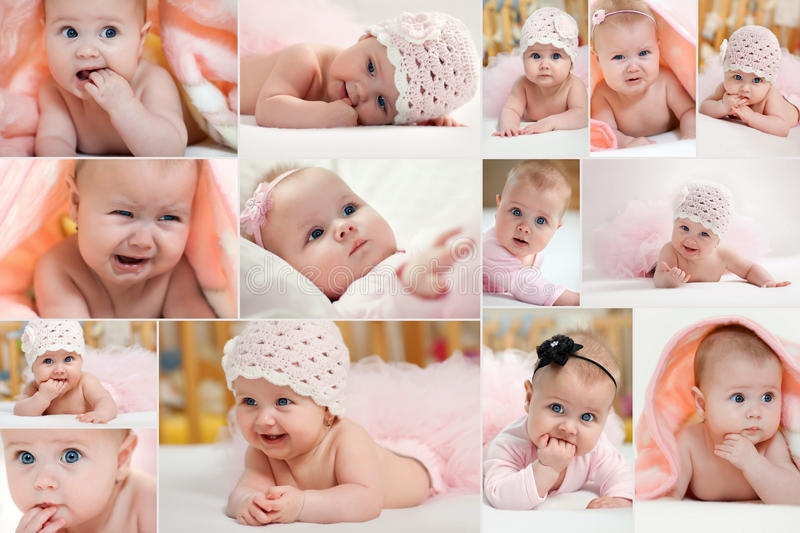 Collage of different photos of children. Collage of different photos of baby and his moments stock images