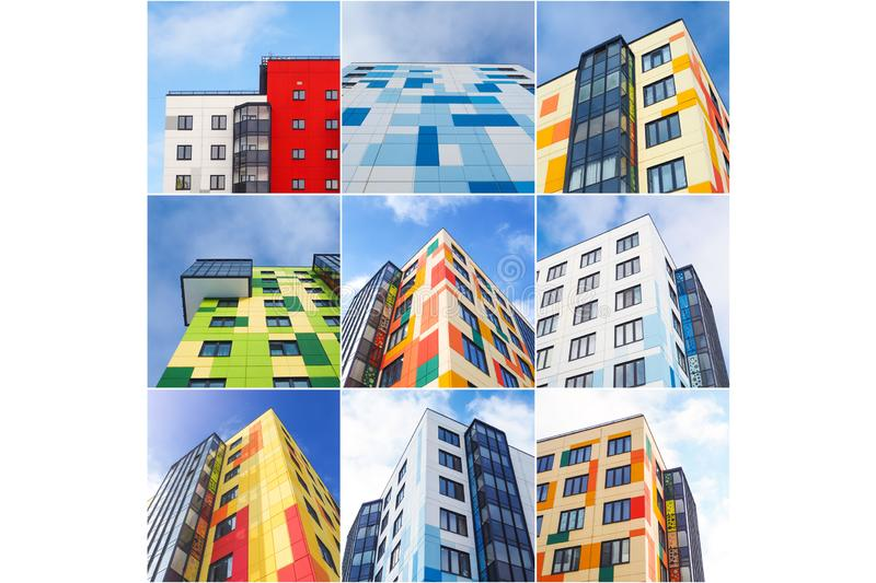 Collage from different pictures of colorful houses.  stock photos