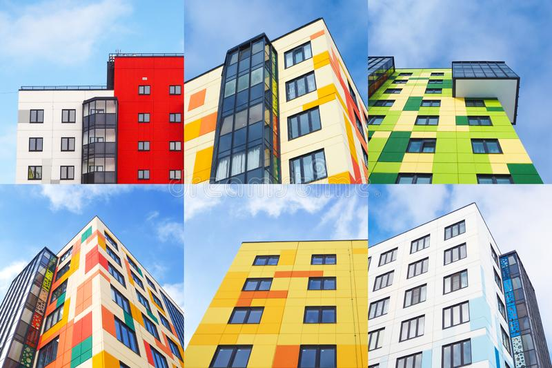 Collage from different pictures of colorful houses. Close up royalty free stock photography