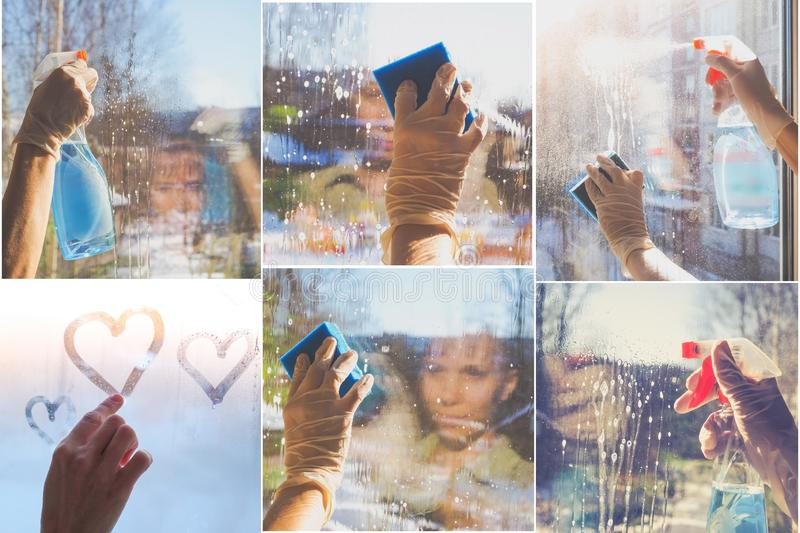 Collage from different pictures of washing dirty window glass detergent in winter. House cleaning royalty free stock photos